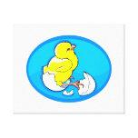 polluelos amarillos oval.png azul de la trama impresiones de lienzo