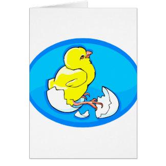 polluelos amarillos oval.png azul de la trama tarjeta pequeña
