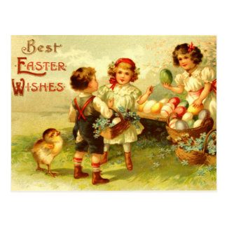 Polluelos antiguos de los niños de la postal de Pa