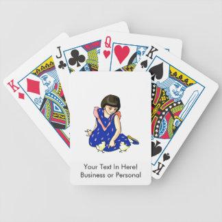 polluelos azules del bebé del vestido dos del chic cartas de juego