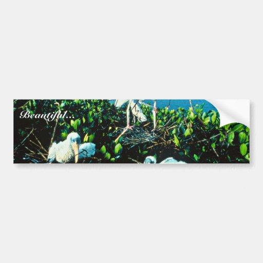 Polluelos de la cigüeña de madera etiqueta de parachoque