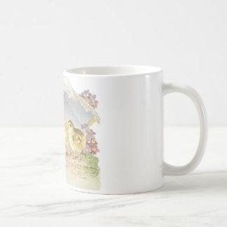 polluelos de pascua brillantes taza de café