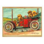 Polluelos de Pascua del vintage en automóvil Postal