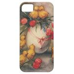 Polluelos de Pascua del vintage, flores rojas del iPhone 5 Case-Mate Funda