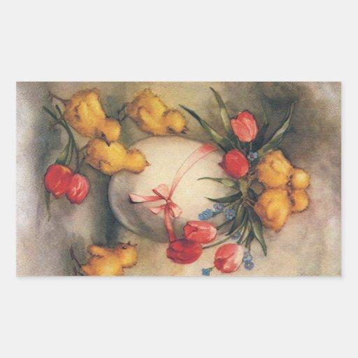 Polluelos de Pascua del vintage, flores rojas del Rectangular Altavoces
