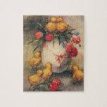 Polluelos de Pascua del vintage, flores rojas del  Rompecabeza Con Fotos