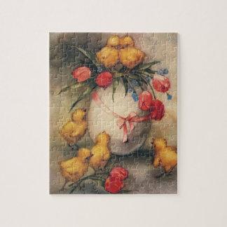 Polluelos de Pascua del vintage flores rojas del Rompecabeza Con Fotos