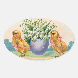 Polluelos de Pascua del vintage Pegatina Ovalada