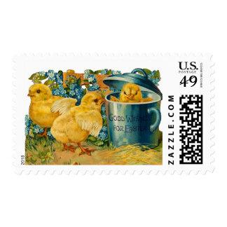 Polluelos de Pascua del vintage Sello Postal