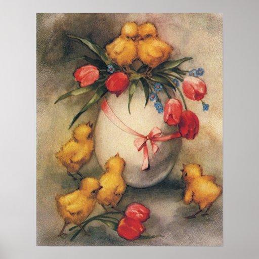 Polluelos de Pascua del vintage y tulipanes del Póster