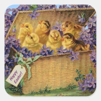Polluelos de Pascua en una cesta - pegatina
