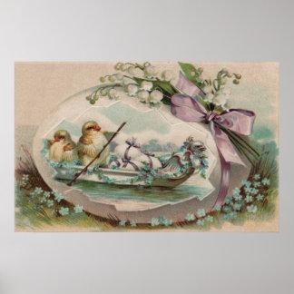Polluelos del bebé que reman la impresión de Pascu