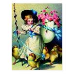 Polluelos del chica y del bebé de Pascua del vinta