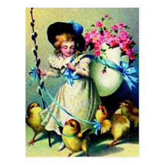 Polluelos del chica y del bebé de Pascua del vinta Tarjeta Postal