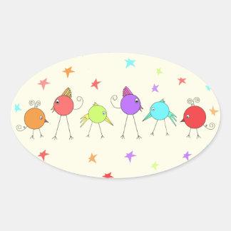 Polluelos del disco pegatina ovalada
