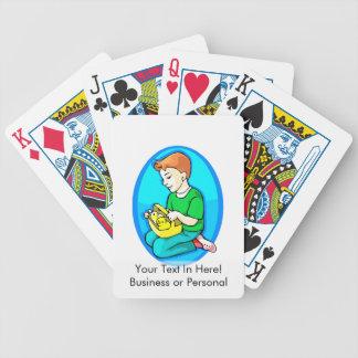 polluelos del muchacho dos en óvalo azul de la ces baraja cartas de poker