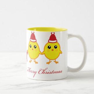 Polluelos del navidad taza dos tonos