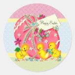 Polluelos del vintage y mensaje rosado del persona etiqueta