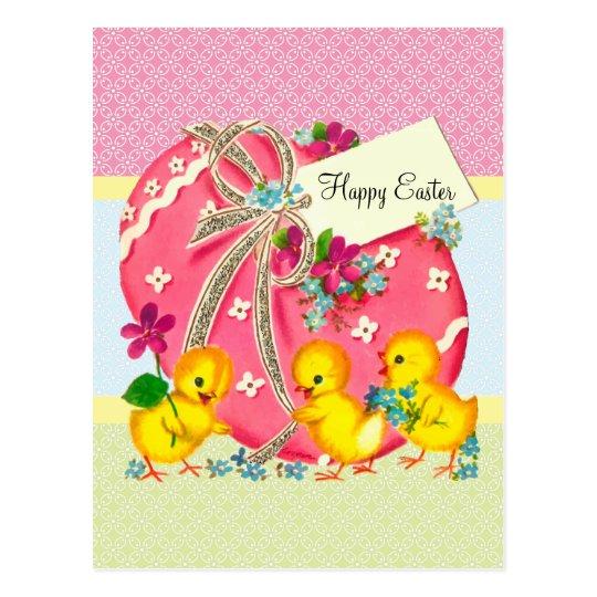 Polluelos del vintage y mensaje rosado del tarjeta postal