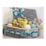 Polluelos en cesta con los huevos y las flores tarjeta postal