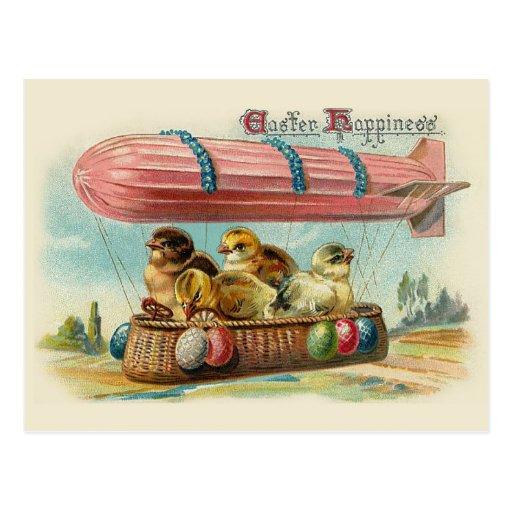 Polluelos en el vintage rosado Pascua del dirigibl Tarjeta Postal