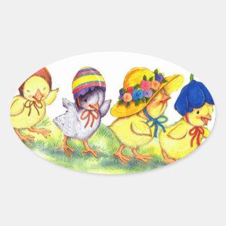 Polluelos en los capos de Easters - pegatina