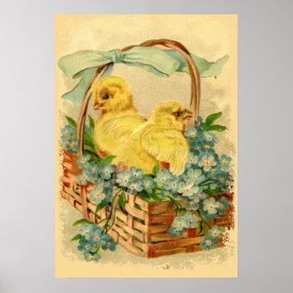 Polluelos en un poster de Pascua del vintage de la