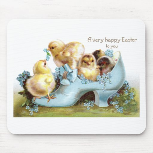 Polluelos en una tarjeta de pascua del vintage del tapete de ratones