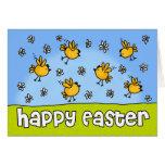 Polluelos felices de Pascua Tarjeton