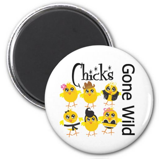 Polluelos idos salvajes imán redondo 5 cm