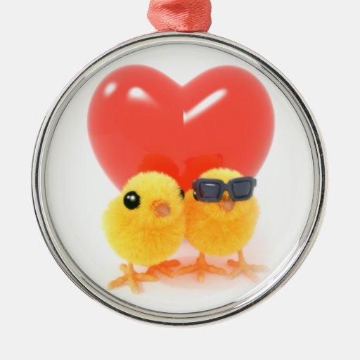 polluelos lindos 3d dos en amor adorno navideño redondo de metal
