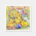 Polluelos lindos de Pascua del vintage Servilleta Desechable