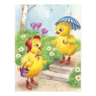 Polluelos lindos de Pascua del vintage Postal