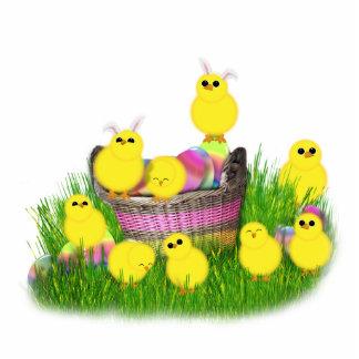 Polluelos 'n de Pascua una cesta (añada su texto) Escultura Fotografica