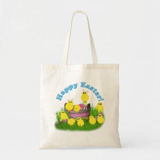 Polluelos 'n un texto de la cesta w/Blue Bolsas