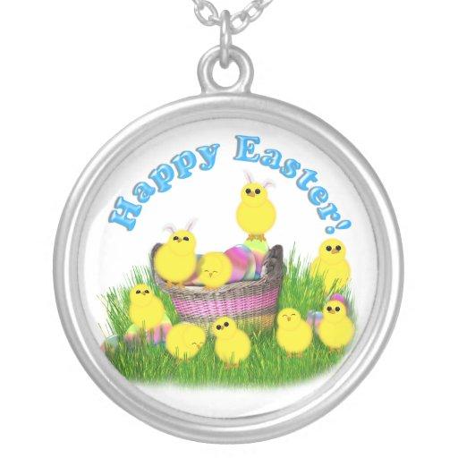 Polluelos 'n un texto de la cesta w/Blue Pendientes Personalizados