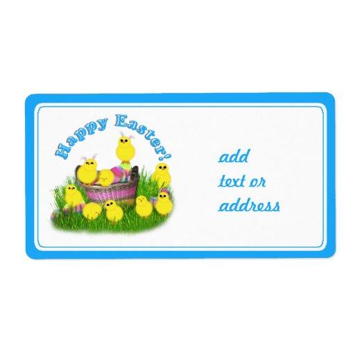 Polluelos 'n un texto de la cesta w/Blue Etiqueta De Envío