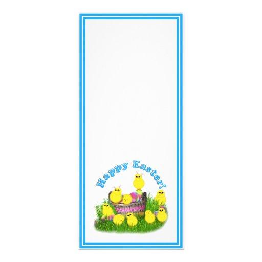 Polluelos 'n un texto de la cesta w/Blue Lonas Personalizadas