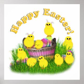 Polluelos 'n una cesta de Pascua (texto amarillo) Póster