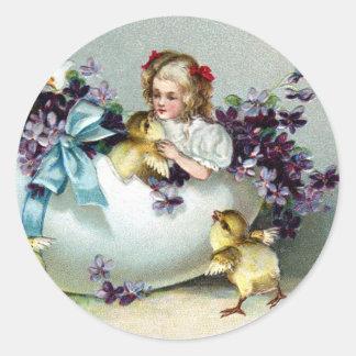 Polluelos, niños, violetas y vintage gigante de la pegatina redonda