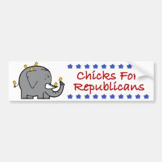 polluelos para los republicanos pegatina para auto