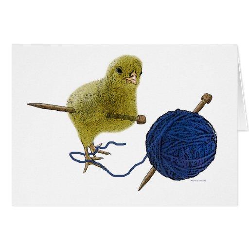 Polluelos que hace punto la tarjeta de felicitació
