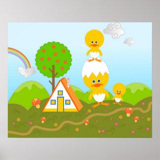 Polluelos y árbol anaranjado póster