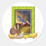 Polluelos y conejo pegatina redonda