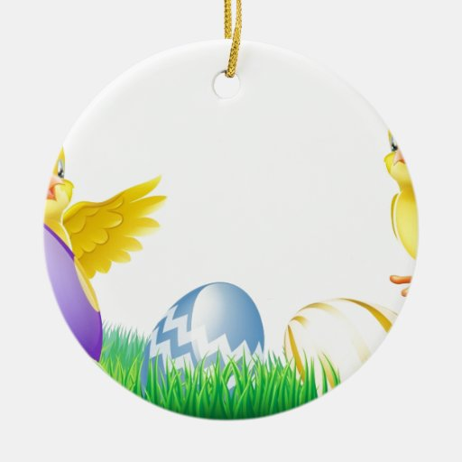 Polluelos y huevos de Pascua amarillos lindos Adorno Redondo De Cerámica