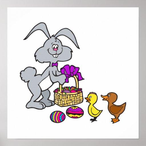 Polluelos y huevos del conejito póster