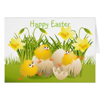Polluelos y narcisos lindos de Pascua Tarjeta De Felicitación