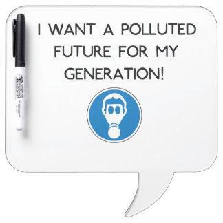 Polluted Generation Speech Balloon Dry Erase Board