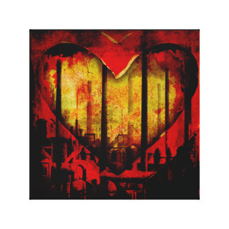 Polluted Heart Wrap Around Art Print Canvas Print