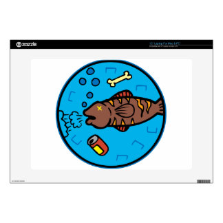 Pollution fish laptop decal